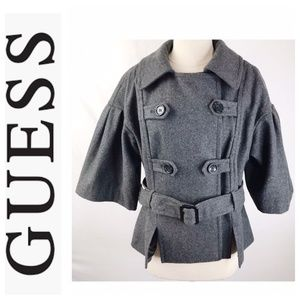 Guess Charcoal Gray Cape Sleeve Belted Coat